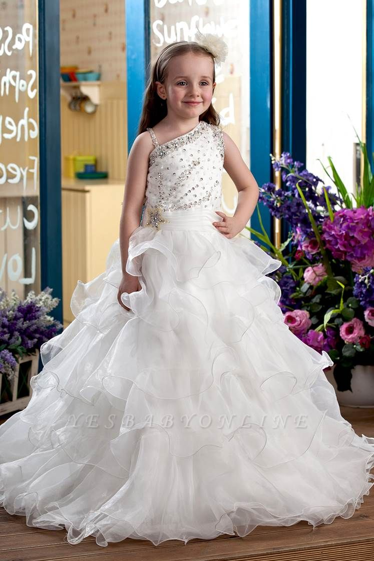Cute Organza Layered One-Shoulder Floor-Length Flower Girl Dress with Beadings