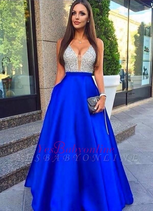 Beaded Sleeveless Royal-Blue V-Neck Puffy Pockets Prom Dresses