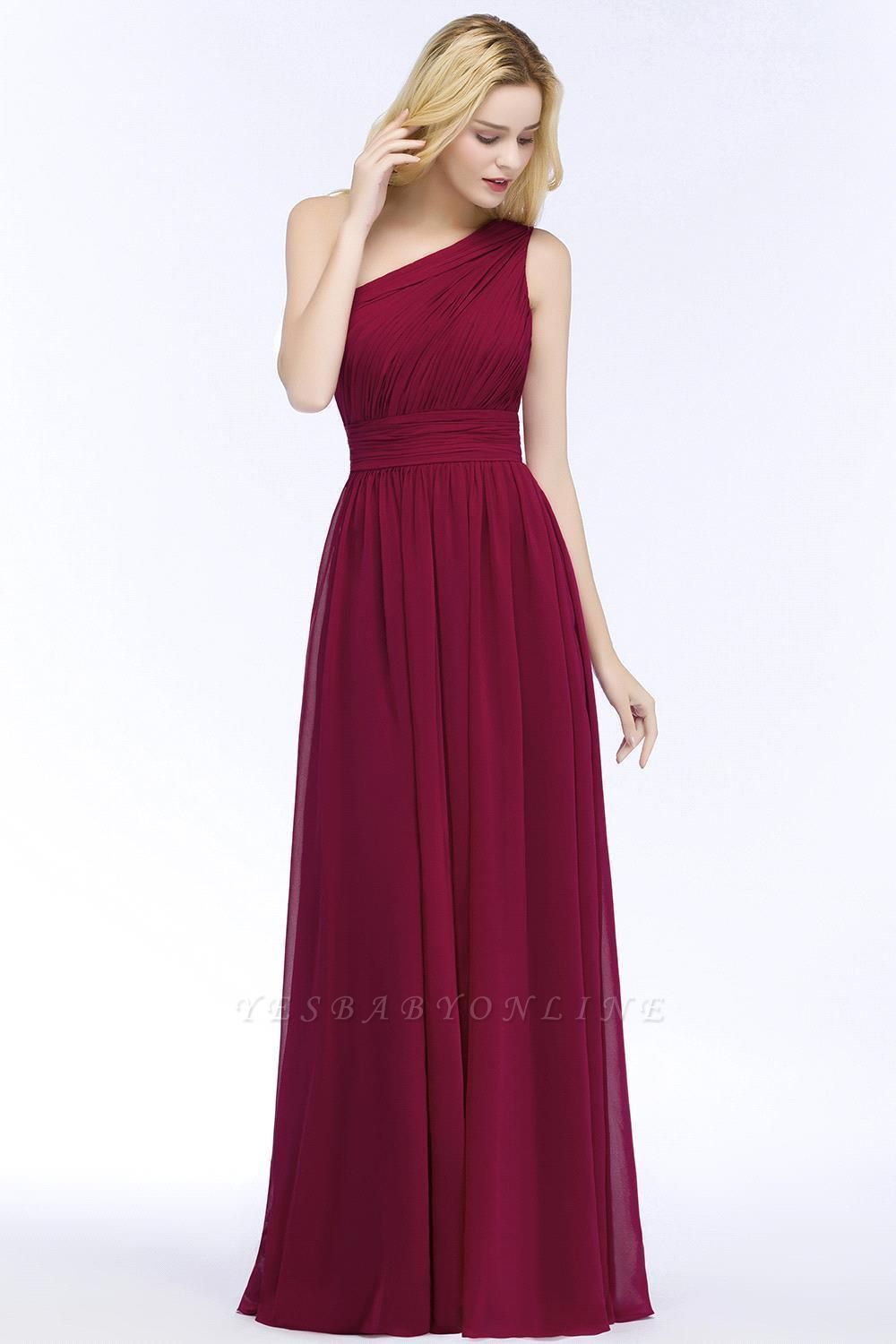 A-line One-Shoulder Bridesmaid Dresses | Ruched Long Wedding Party Dress