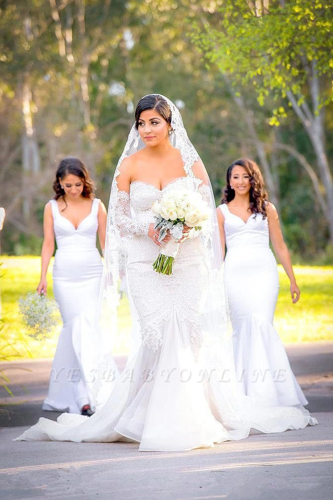 Glamorous Zipper Pearls Sweetheart Lace Mermaid  Wedding Dress