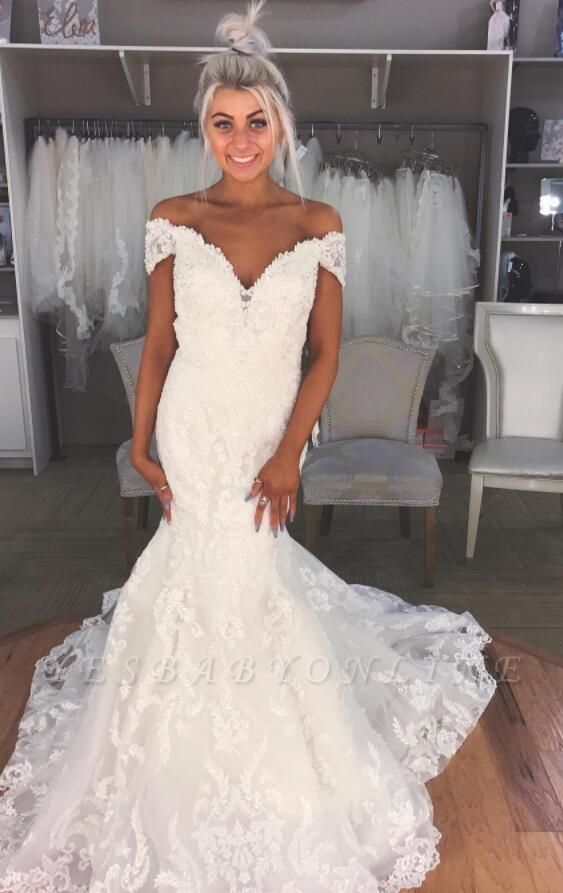 Glamorous Sexy Mermaid Wedding Dresses | Off-the-Shoulder Lace Bridal Gowns