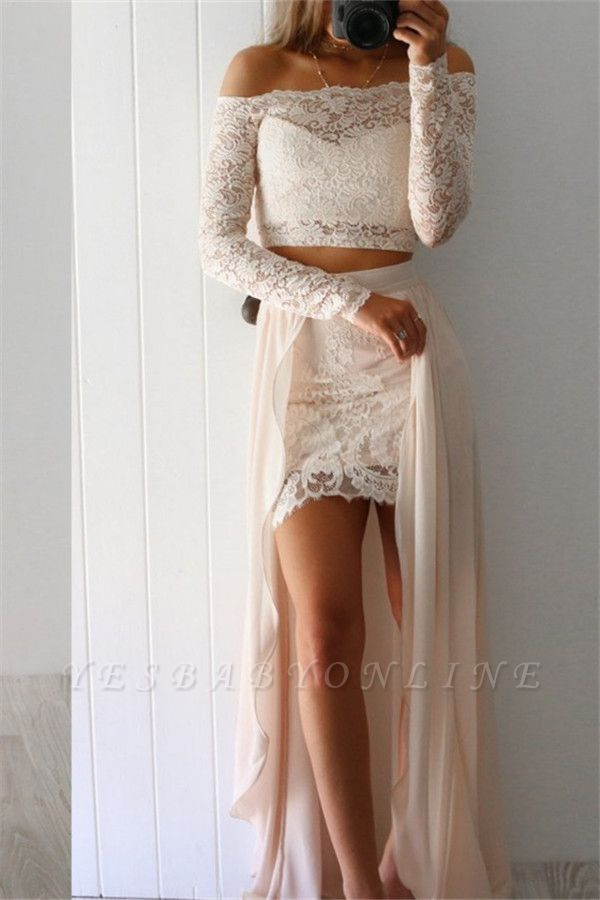 Lace Long-Sleeves Two-Pieces Sexy Off-the-Shoulder Prom Dresses