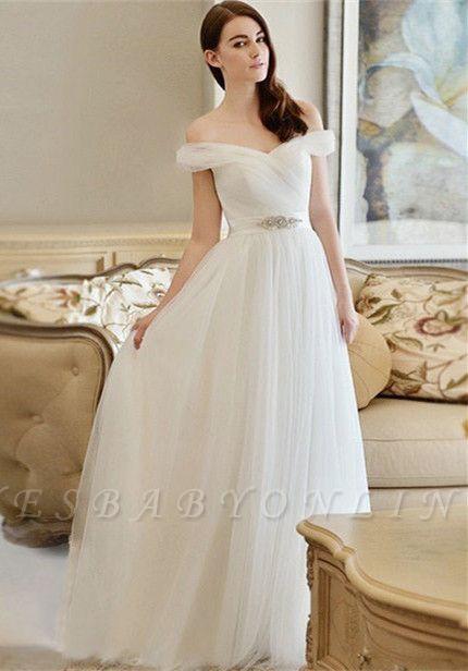Crystal Sweep Train A-line Modern Off-the-shoulder Wedding Dress