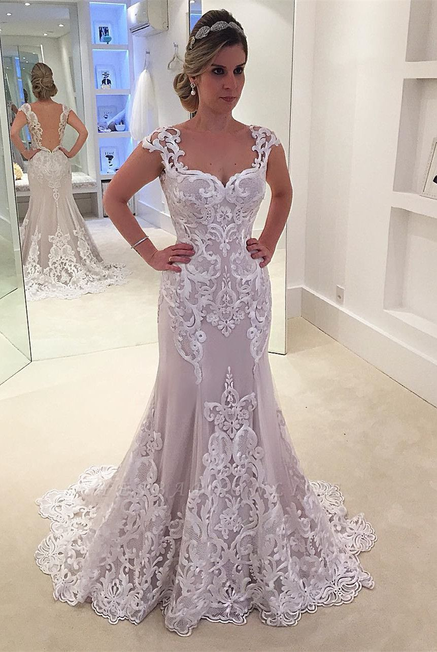 Floor-length Glamorous Cap-sleeve  Mermaid Lace Wedding Dress