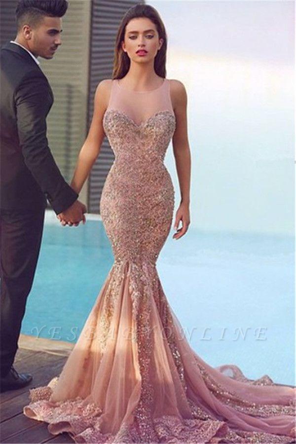 Jewel Sheer Gorgeous Mermaid Sequins Pink Sparkling Sleeveless Evening Dress