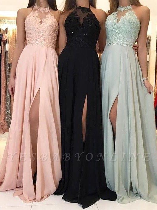 Elegant A-Line Appliques Evening Dresses | Halter Side Slit Prom Dresses