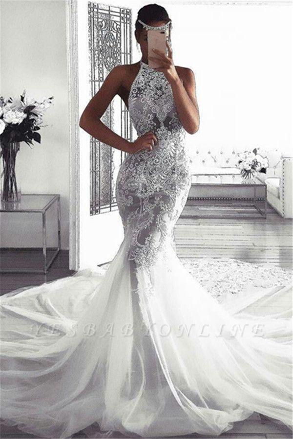 Glamorous Sleeveless Halter Sexy Mermaid Tulle Wedding Dresses