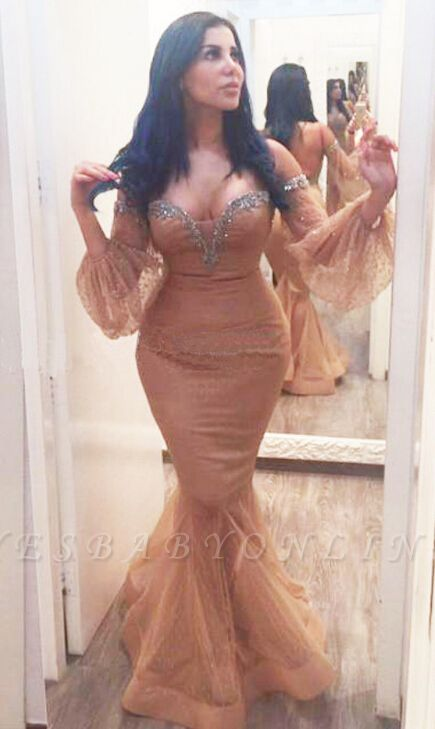 Backless Sequins Hot Off-the-Shoulder Plus-Size Mermiad Evening Gown