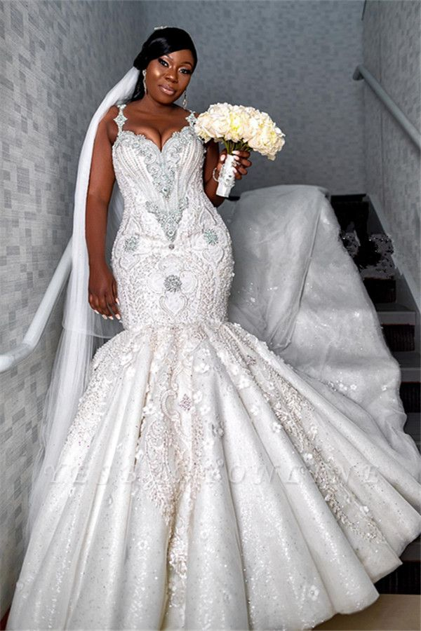 Gorgeous Spaghetti Strap V Neck Applique Crystal Fit And Flare Mermaid Wedding Dresses