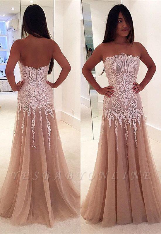 Zipper Strapless Newest A-line Lace Sleeveless Prom Dress