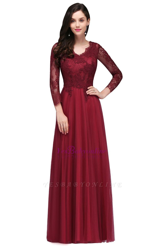Long-Sleeves A-line Burgundy V-Neck Floor-Length Prom Dresses