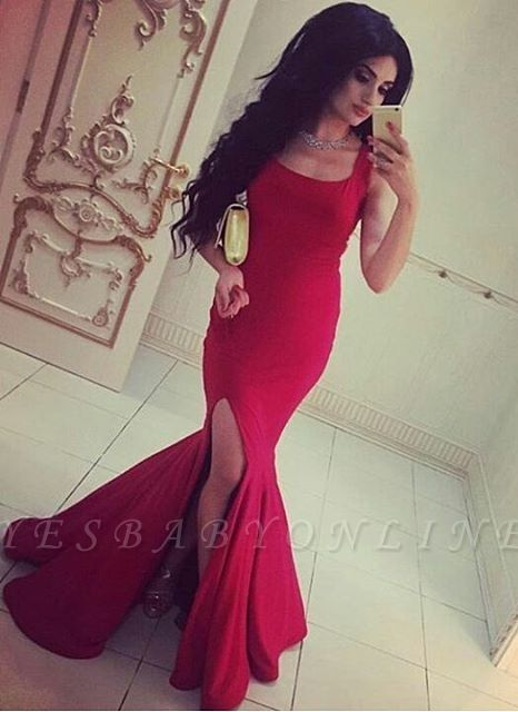 Simple Square-Neck Side-Slit Straps Red Sexy Mermaid Evening Gowns