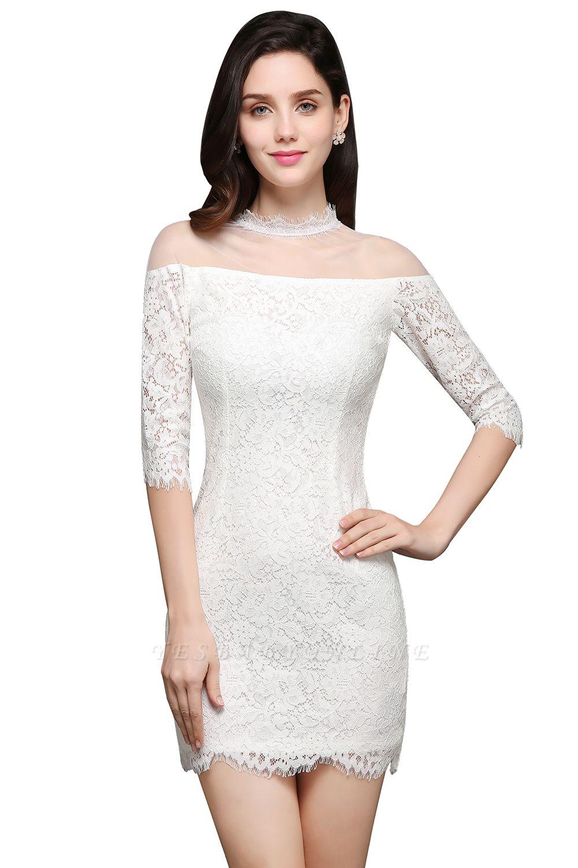 Lace Ivory Short Gorgeous Half Sleeve-Sheath High-Neck Evening Dresses