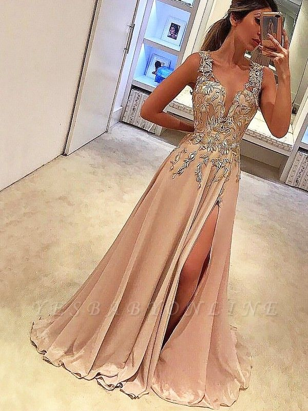 Elegant A-Line Appliques Evening Dresses | Straps Side Slit Sleeveless Prom Dresses