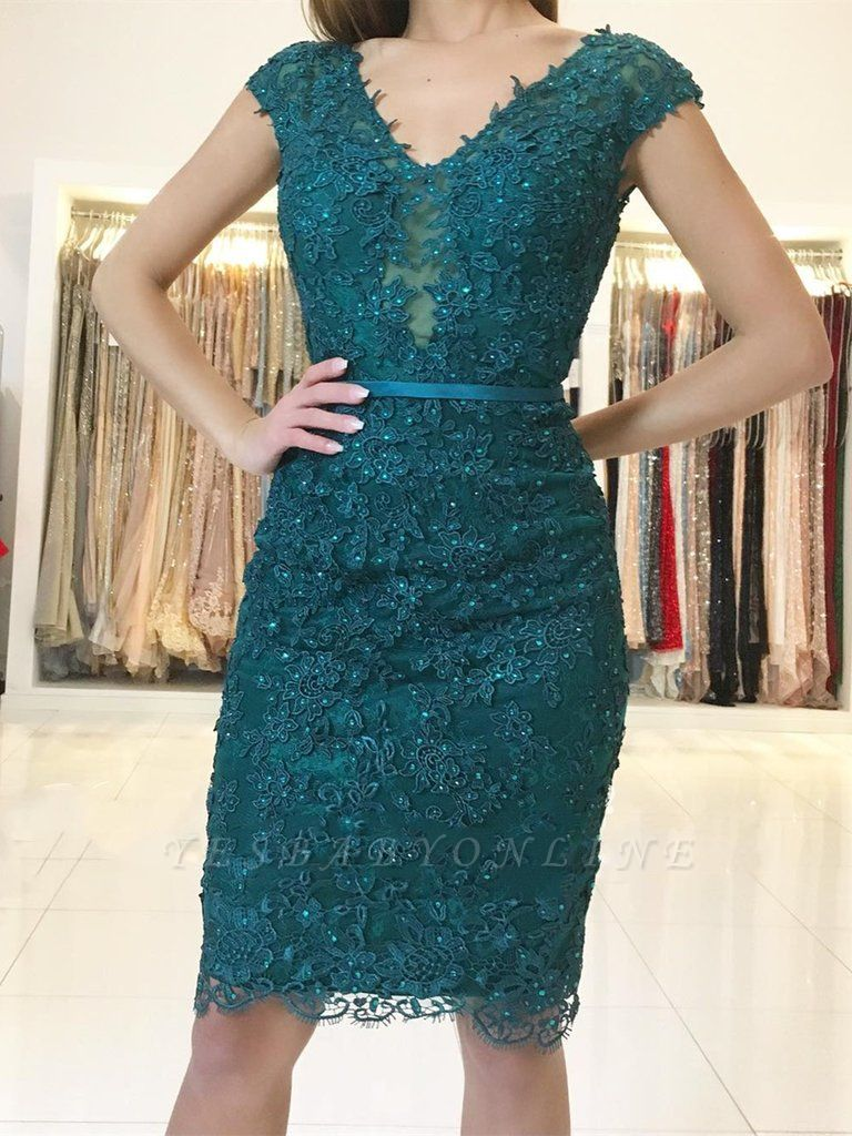 Simple Green Short Sheath Lace V-neck Prom Dresses with Beading