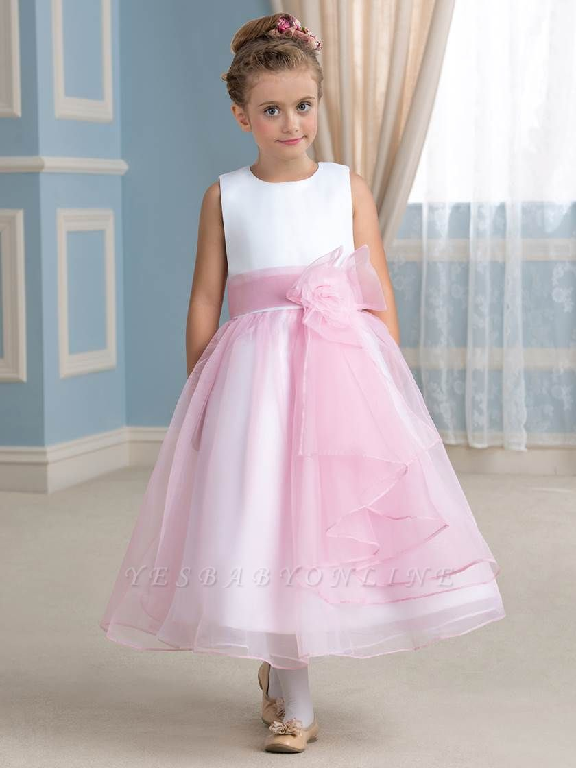 Cute A-Line Organza Jewel Tea-Length Flower Girl Dress