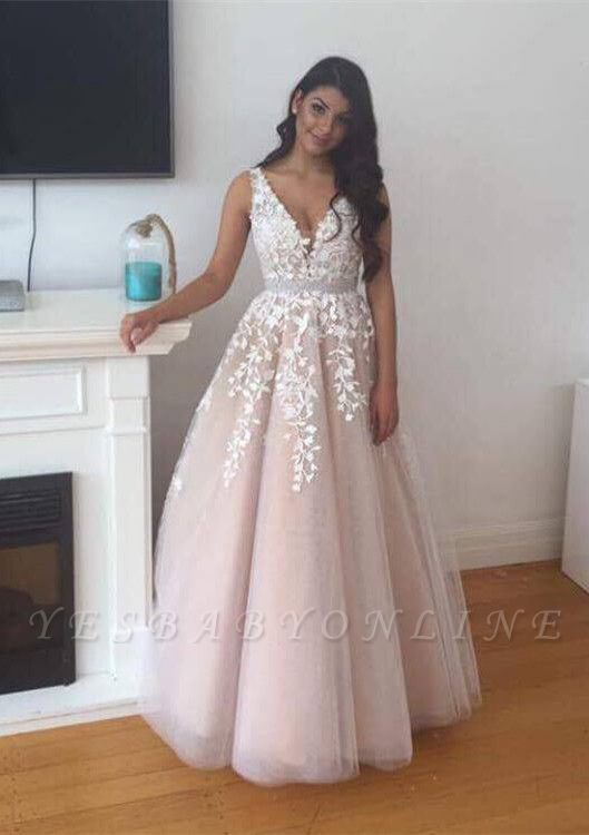 2019 Pink Prom Dress V-Neck Lace Appliques A-line Evening Gowns