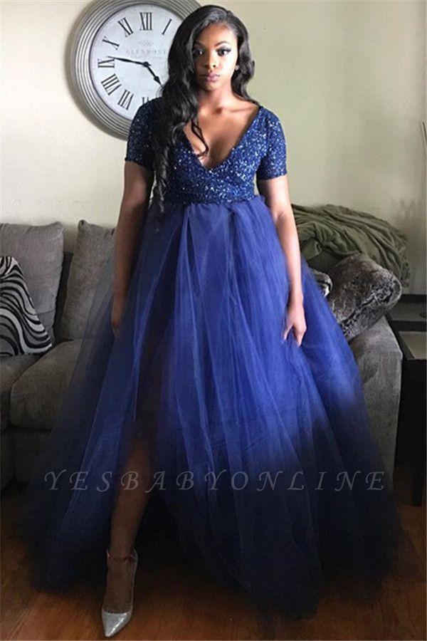 V-Neck  Short-Sleeves A-line Plus-Size Prom Dress