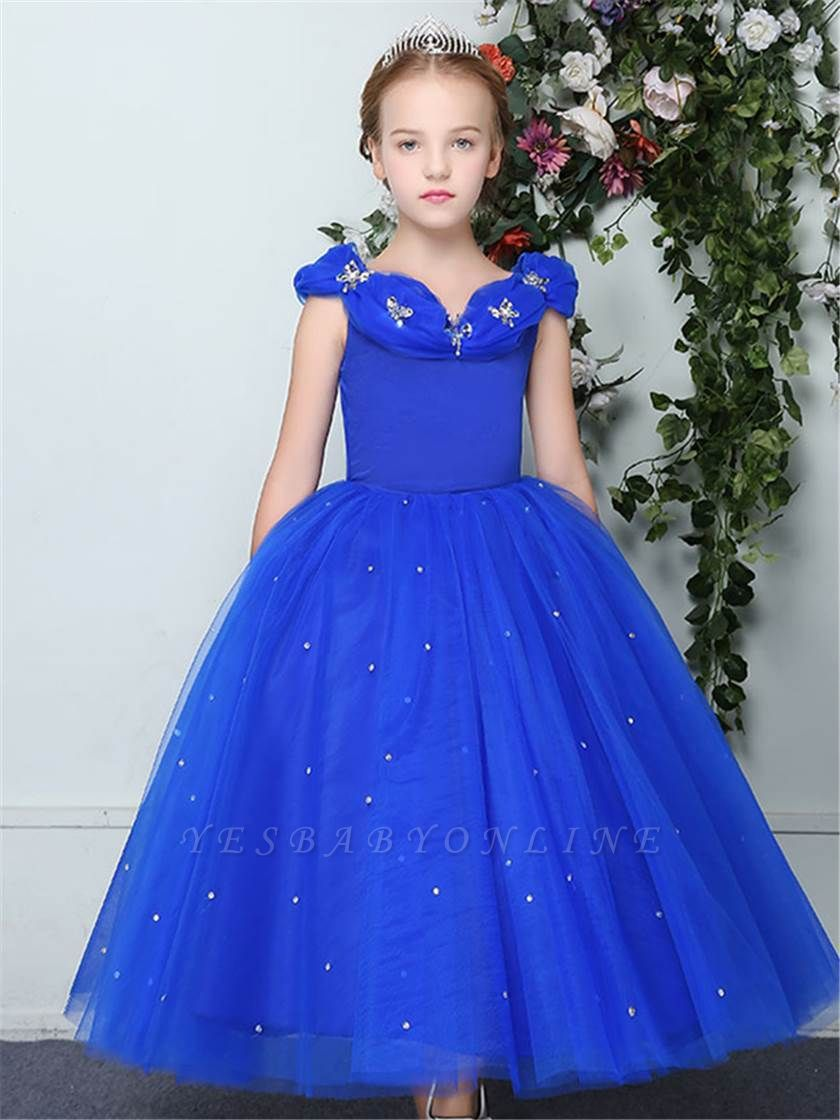 Cute Ball Gown Tulle Cap Sleeves Straps Flower Girl Dress with Beading