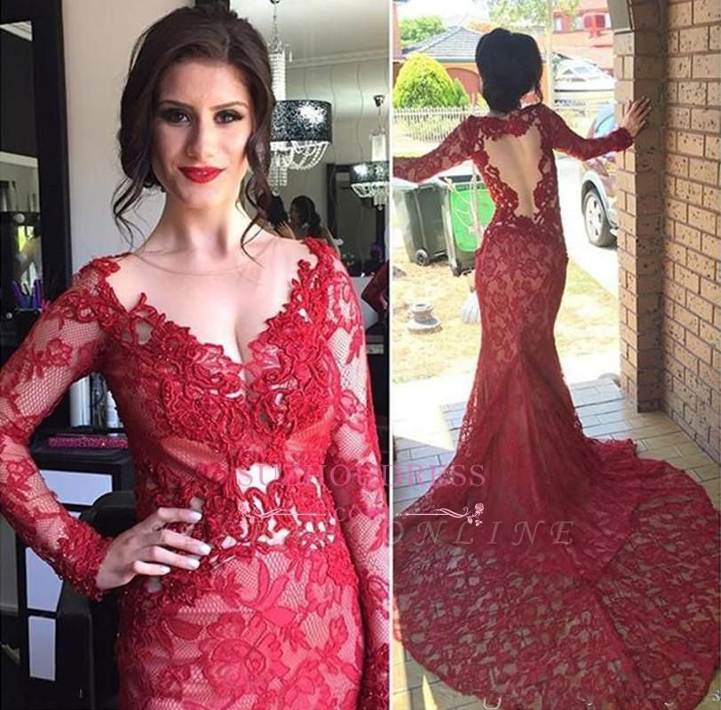 Chic Red Lace Evening Gowns Long Sleeves V-Neck Nude Lining Evening Dresses