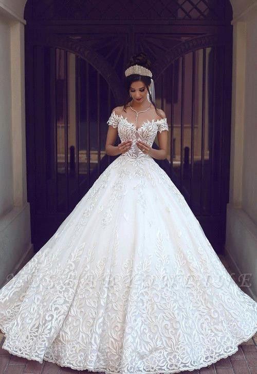 Off-the-Shoulder New Short-Sleeve Glamorous Lace Wedding Dresses