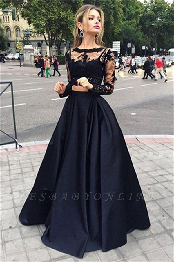 Two-Piece Black A-line Long-Sleeves Long Prom Dresses