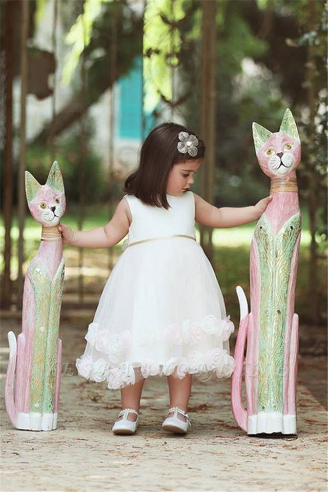 Stunning White Flowers Tea Length Flower Girl Dress | Sweet Tulle Bowknot Short Girl Dresses