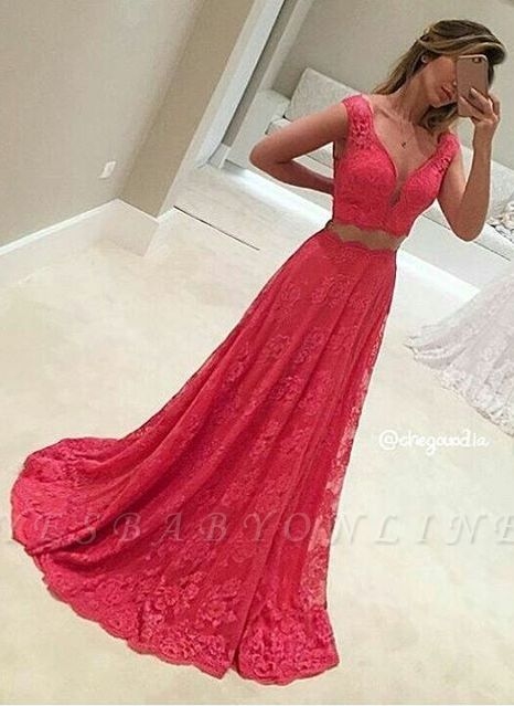 Sexy Mermaid Long Two-Piece V-Neck Sleeveless Red Lace Appliques Prom Dresses