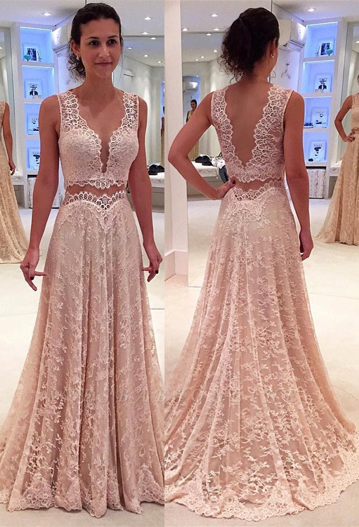 Lace Sleeveless Modern Two-Piece A-line Straps Prom Dress