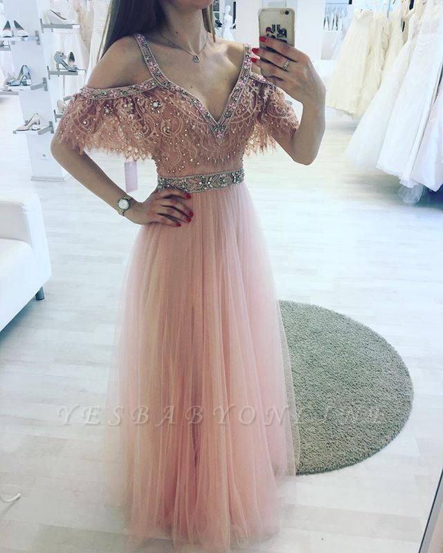 Pink V-neck A-line Lace Beading Floor-length Charming Evening Dress