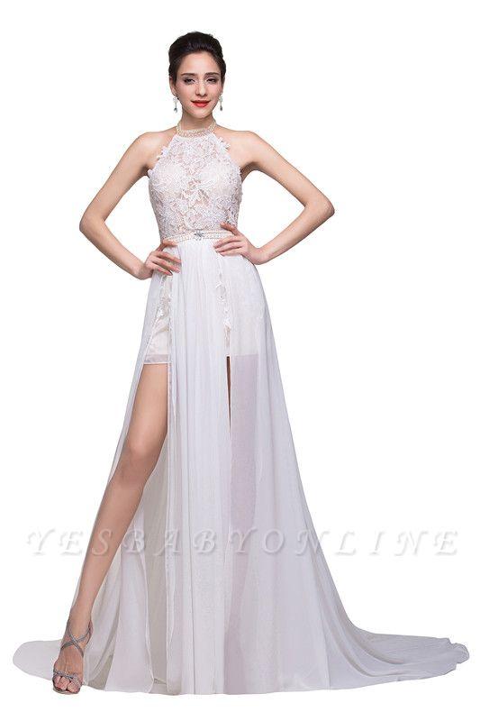 Halter Lace Chiffon Wedding Dresses with a Leg Slit