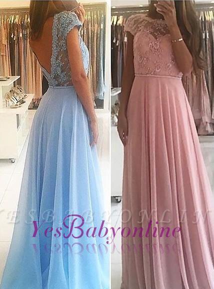 Lace Chiffon A-line Chic Short Sleevess Floor-length Evening Dress