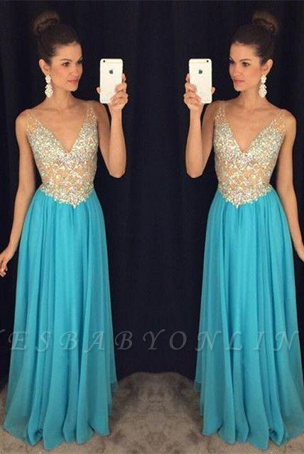 Ruffles V-Neck Crystal Sexy Popular Sleevelesss Prom Dresses