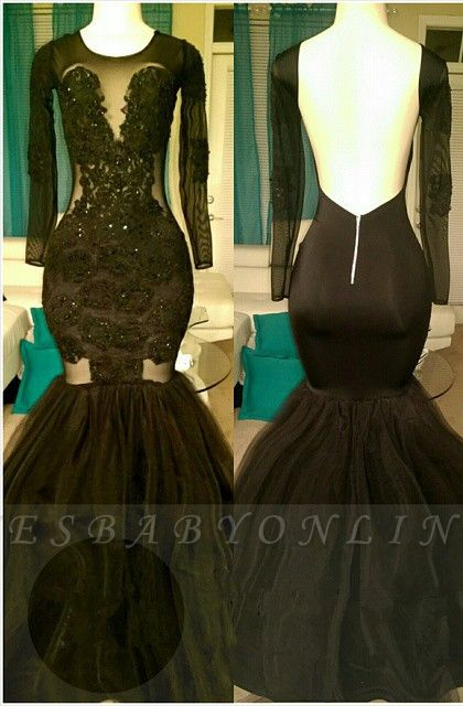 Sexy Jewel Backless Sheer Top Mermaid Prom Dresses with Long Sleeves