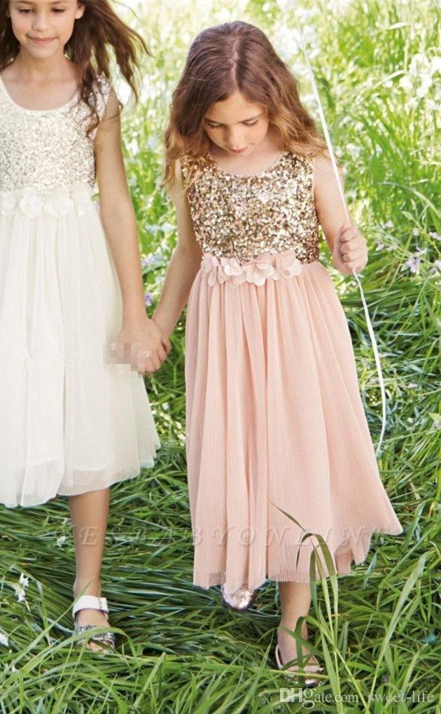 Lovely Affordable Blush Flower Girl Dresses | Sequins Bowknot Girls Pageant Dress