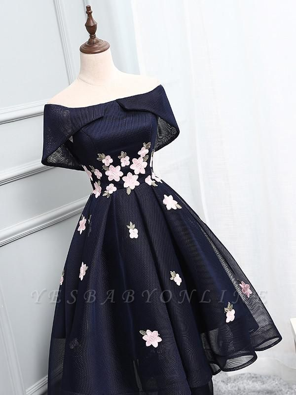 High-Low A-line Chic Flowers-Appliques Short-Sleeves Short Off-The-Shoulder Prom Dresses
