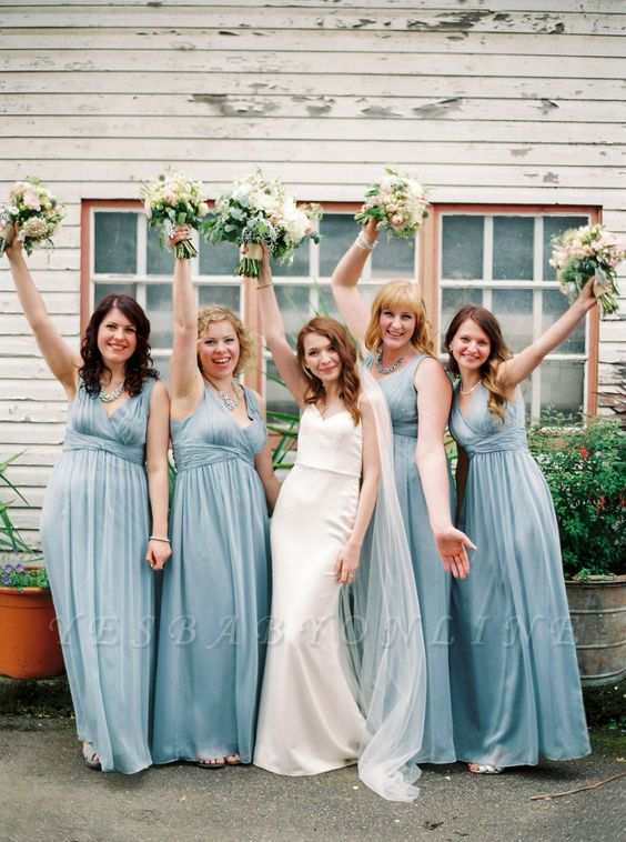 Chiffon Modern V-Neck Blue Wedding Long Party Bridesmaid Dresses
