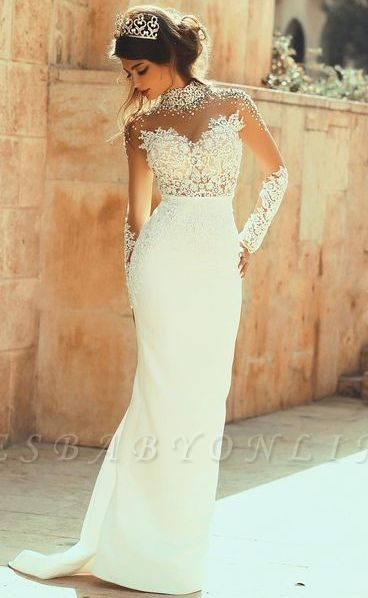 Glamorous Column High-Neck  See Through Open Back Lace Wedding Dresses
