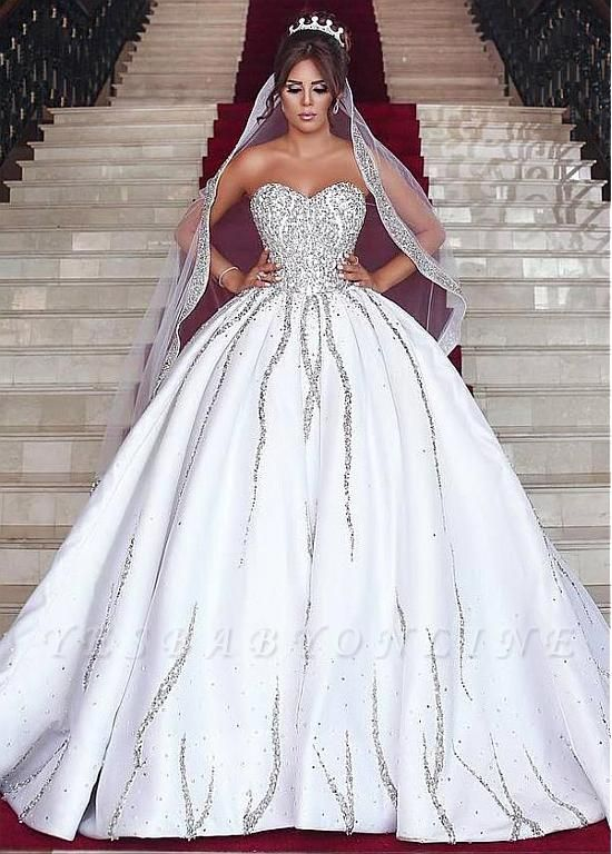 Sweetheart Ball Wedding Sleeveless Beading Dresses Gown Brilliant Bridal Gowns