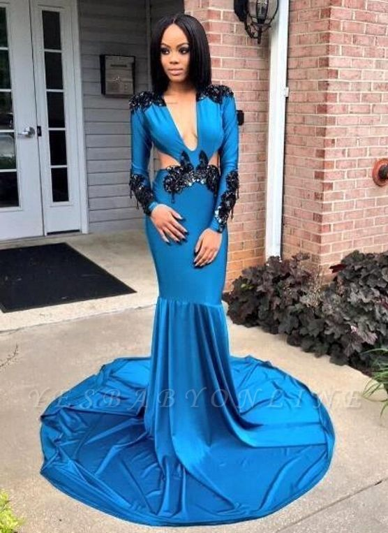 Blue Appliques Mermaid Prom Dresses | V-neck Long Sleeves Evening Gowns