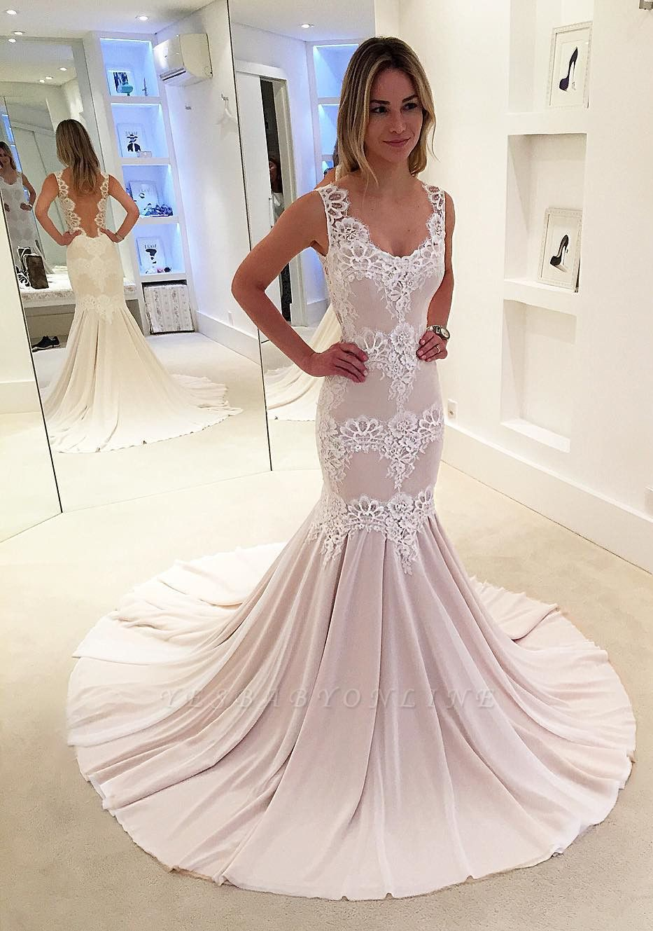 Modern Sleeveless Sweep-Train Lace Mermaid Straps Wedding Dress