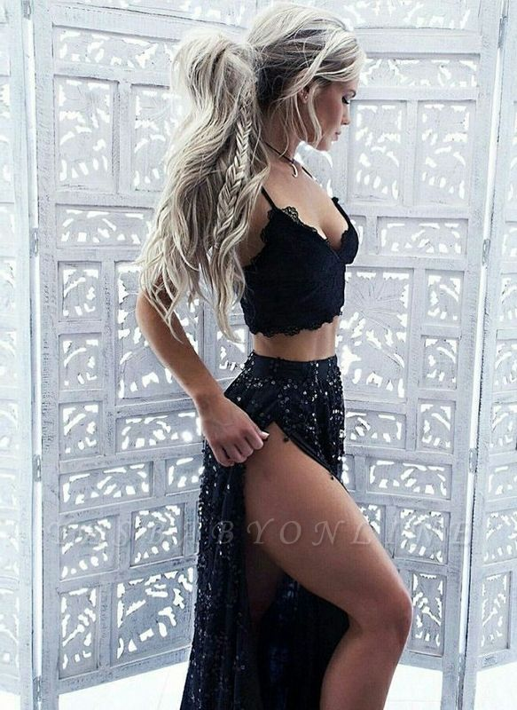 Chic Straps Sequined Evening Dresses   Side Slit Two Pieces Prom Dresses