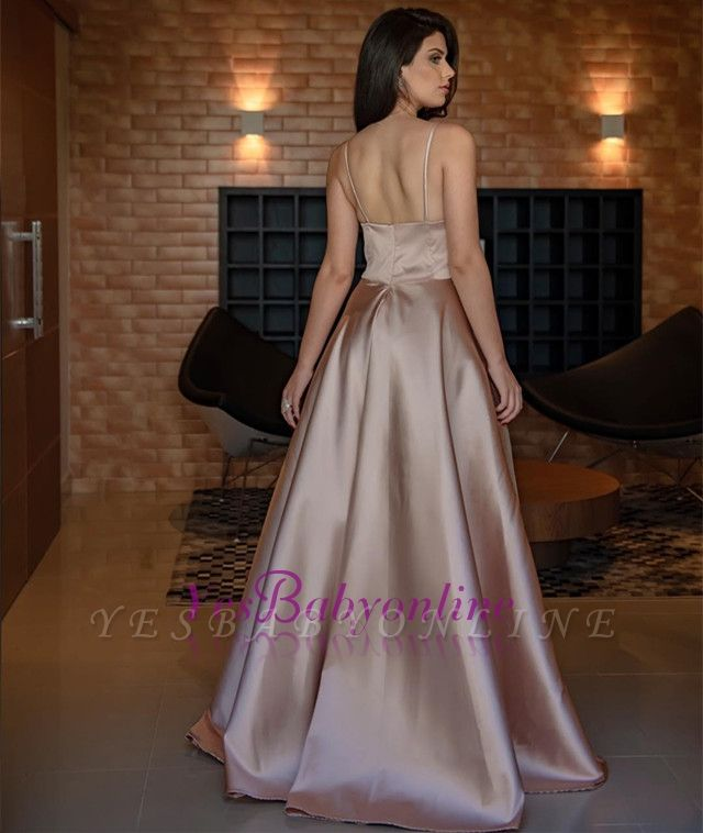 Long Sleeveless V-Neck Simple Spaghetti-Straps Prom Dress