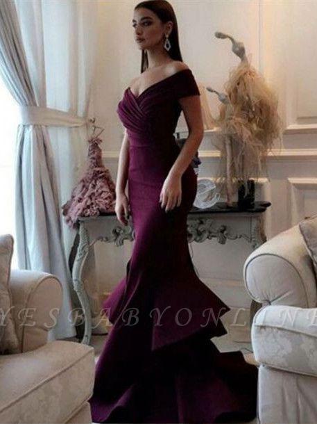 Mermaid Burgundy off-shoulder Prom Dresses