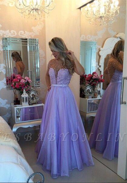 Pearls Long Sheer Puffy Short-Sleeves Lavender Romantic Prom Dresses