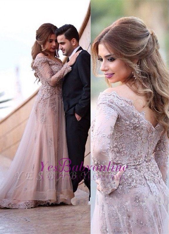 A-line Sweep-Train Off-the-shoulder Lace-Appliques Elegant Zipper Long-Sleeve Evening Dress