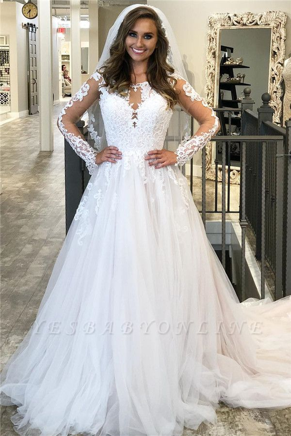 Long Sleeve Jewel Applique Ruffles A Line Wedding Dresses | Sheer Back Wedding Gown