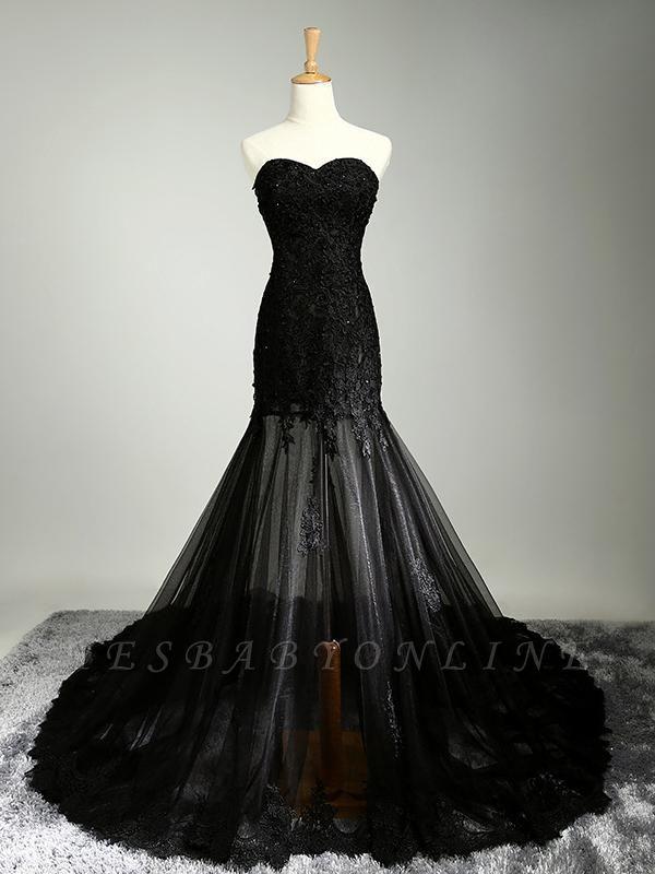 Black Beaded Mermaid Elegant Lace-Applique Sweetheart Prom Dresses