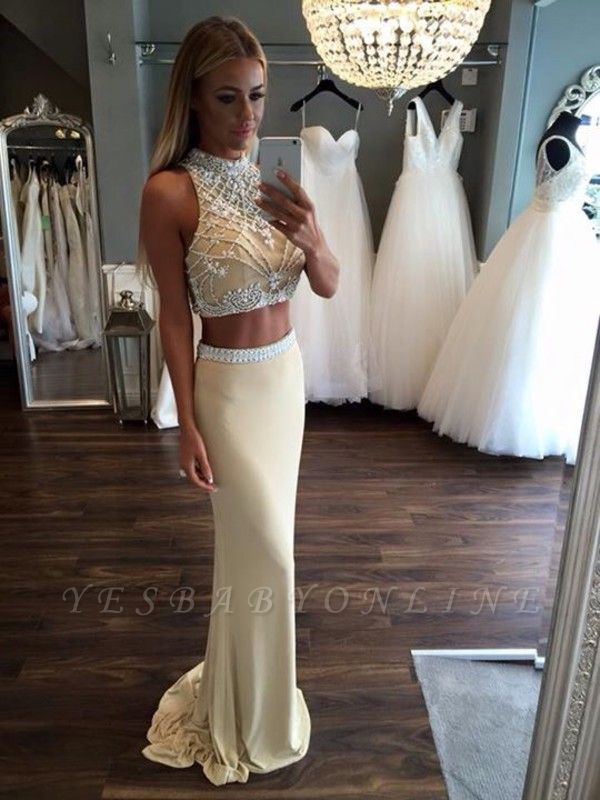 2019 Two-Piece Sheath Prom Dresses Sleeveless Crystals Formal Dresses