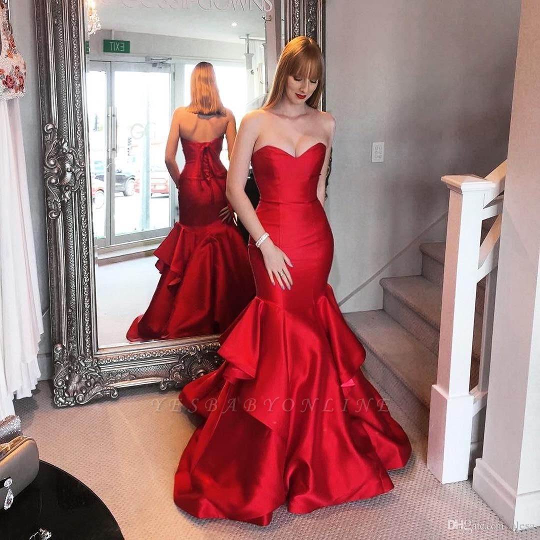 Sweep-trian Mermaid Sweetheart Lace-up Red Tired Evening Dress